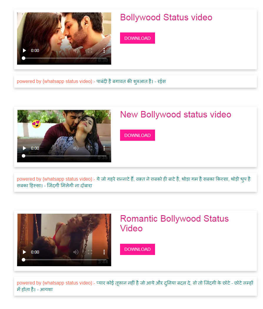 bollywood whatsapp status video download, bollywood dialogues