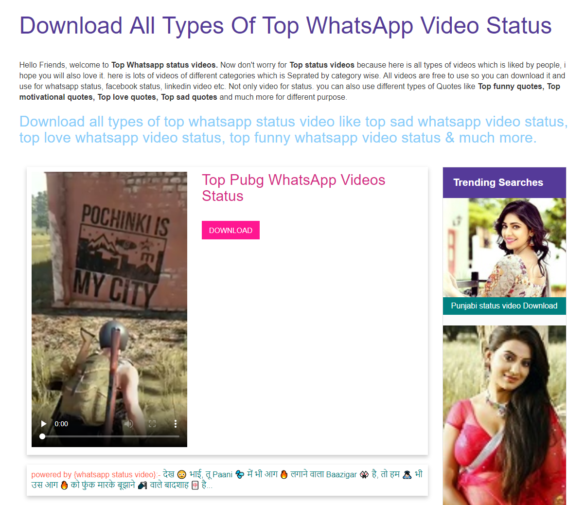 Download All Types Of Top WhatsApp Video Status